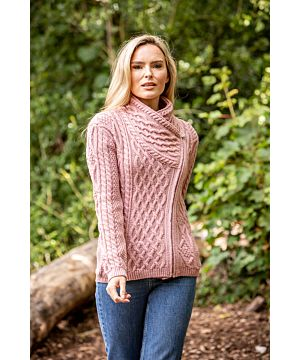 Cable Knit Side Zip Pink