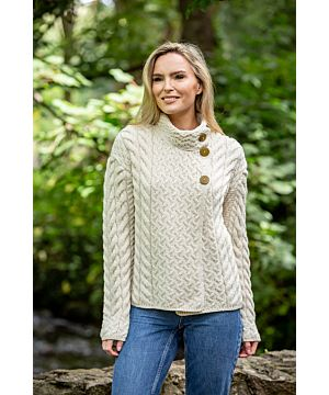 Super soft merino wool aran button cardigan natural