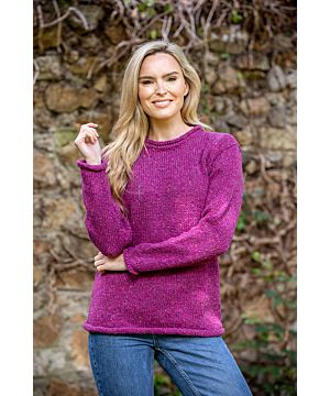Ladies Roll Neck Sweater Pink