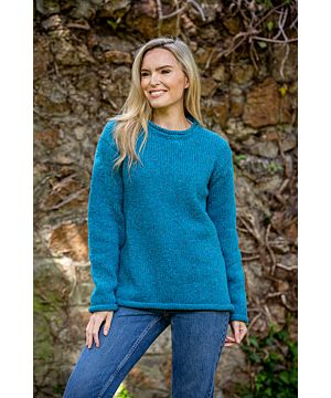 Ladies Roll Neck Sweater Turquoise Blue