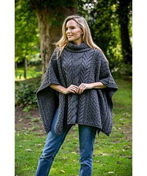 Super Soft Merino Wool One Size Poncho Charcoal