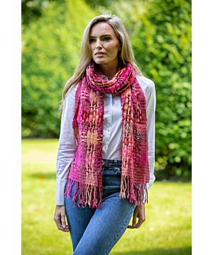 Women's Celtic Open Weave Wool Scarf Pink