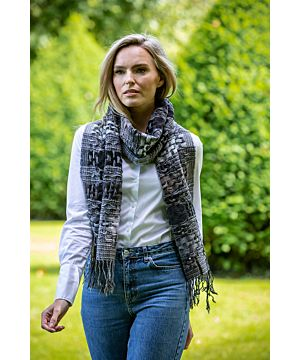 Suantrai of Ireland Scarf Grey Black 87x15 in