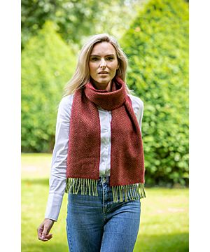 Wool and Cashmere John Hanly Scarf Red Herringbone