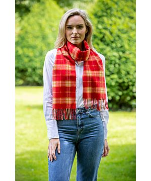 100% Cashmere Scarf Red check