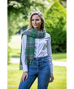 Wool and Cashmere Scarf Green, grey, blue