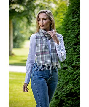Made in Ireland Extra Fine Merino Wool Scarf Grey, white, pink tartan