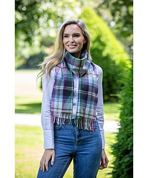 Made in Ireland Extra Fine Merino Wool Scarf Purple, green, grey black mix