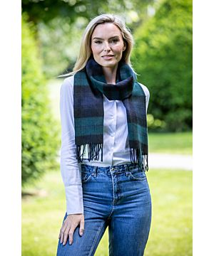 100% Lambswool Green and Navy Check Scarf