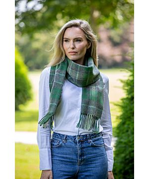 Wool and Cashmere Scarf Green Tartan