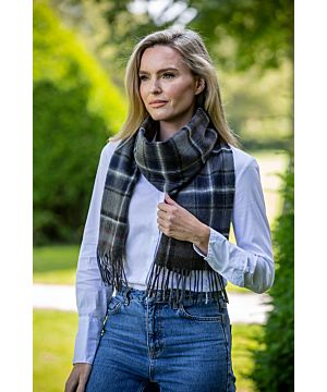 Wool and Cashmere Scarf - black, navy, grey