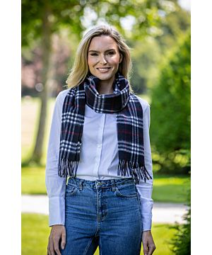Wool and Cashmere Scarf Navy, white & red tartan