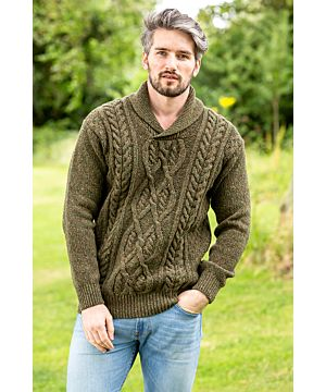 Wool and Cashmere Shawl Neck Sweater Forest Marl
