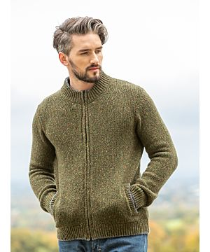 Wool and Cashmere Jersey Cardigan Green