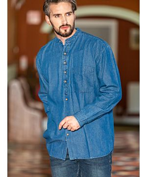 Traditional Grandfather Shirt SW1601- Denim Blue