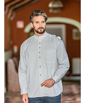 Men's Check Traditional Grandfather Shirt - SW1234