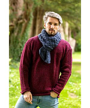 Cable Knit Unisex Scarf Denim Marl - 100% Merino Wool