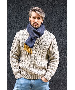 Men's Wool and Cashmere Navy/Mustard Herringbone Scarf 2433
