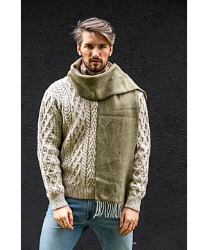 Men's Wool and Cashmere Moss Green Herringbone Scarf