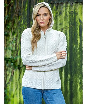 Ladies Aran Hooded Cardigan with Claddagh Zip - Natural