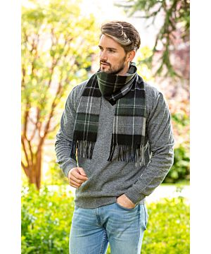Wool and Cashmere Scarf black, grey, green check