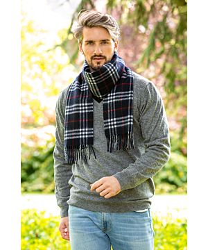 Wool and Cashmere Scarf navy red and white tartan