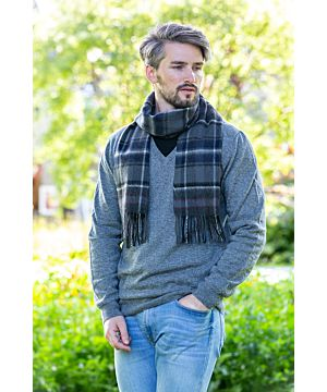 Wool and Cashmere Scarf Black, grey, white, red check