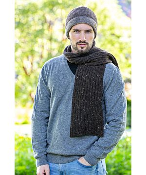100% Merino Wool Scarf Made in Ireland - Dark Brown
