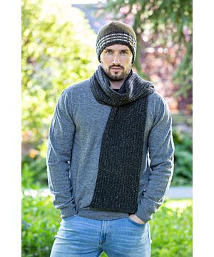 Wool and Cashmere Luxe Ribbed Scarf Charcoal - Made in Ireland