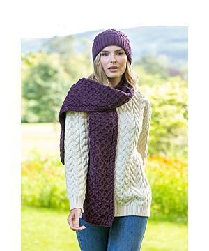 Cable Knit Scarf Purple Marl