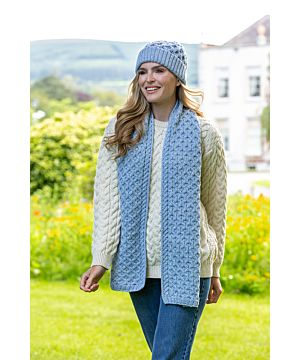 Cable Knit Aran Scarf Sky Blue