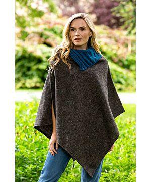Made in Ireland Tweed Poncho with Collar Grey
