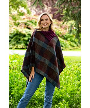 Made in Ireland Tweed Poncho with Collar