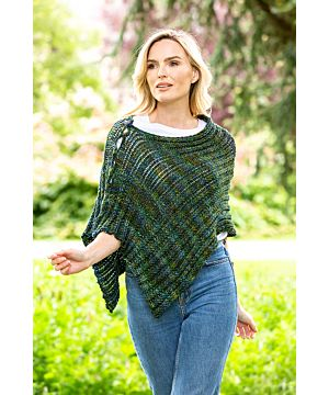 Hand Made in Ireland - Shawl in Atlantic (Green/Blue Mix)