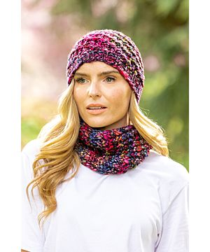 Handmade in Ireland - Snood and Hat Set - Purple Mix