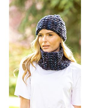 Super-soft Navy mix Snood - Made in Ireland