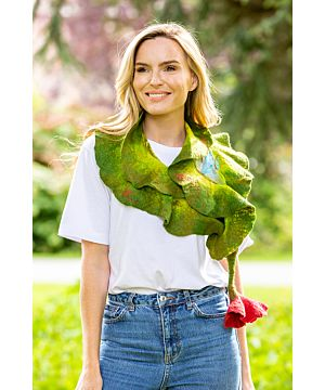 Handmade in Ireland Felt Wool Scarf with Flower Tie - Green