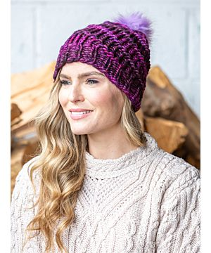 Handmade in Ireland. - Super Soft hat with pom pom- Purple