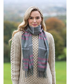 100% Lambswool Scarf Grey Pink Check