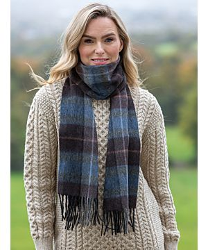 100% Lambswool Scarf Blue / Brown Check