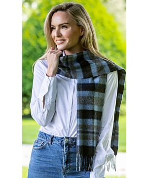 100% lambswool blue and black check scarf