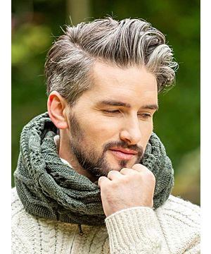 Wool / Cashmere Blend Twisted Scarf - Forest Green