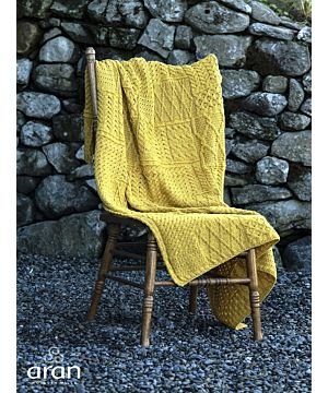 Merino Wool Irish Patchwork Blanket Yellow