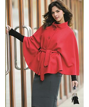 'Alcon' Cashmere / Wool Blend Cape - Red