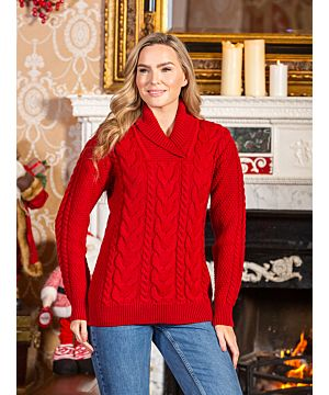 Ladies Shawl Neck Sweater Red