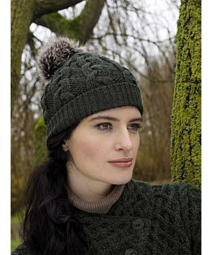 Aran Cable Knit Hat Pom Pom Green