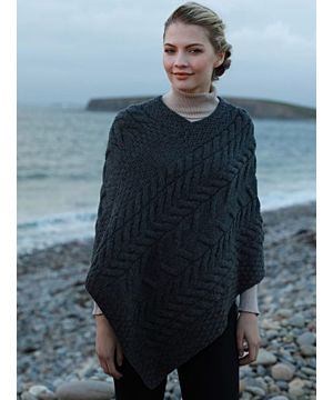 Aran Super Soft Poncho Charcoal
