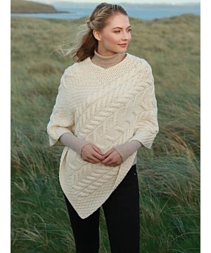 Aran Super Soft Poncho Natural