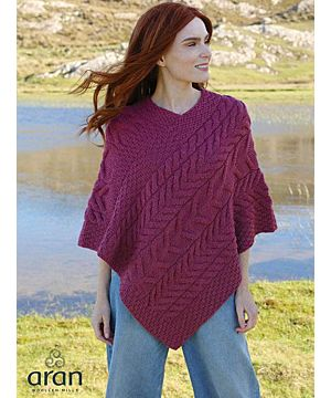 Aran Super Soft Poncho Raspberry