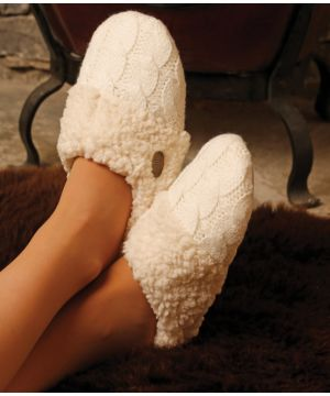 Adult Aran Cable Knit Slippers